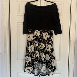 NWOT Black & White Off Shoulder Floral Dress